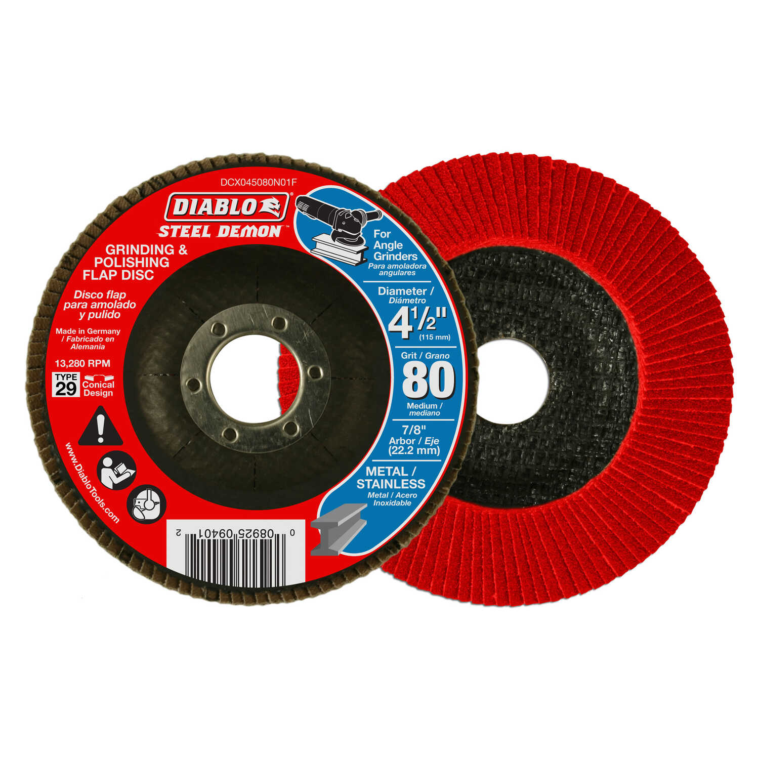 Diablo  Steel Demon  4-1/2 in. Dia. x 7/8 in.   Zirconium  Flap Disc  80 Grit 13280 rpm 1 pc.