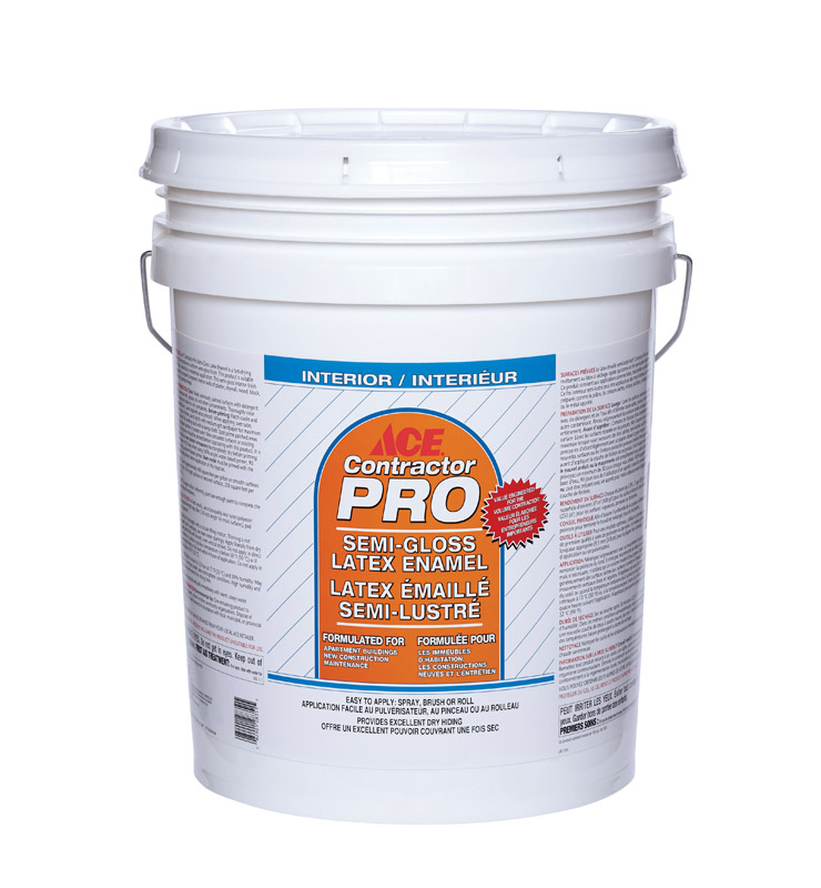 Ace  Contractor Pro  Semi-Gloss  Ultra White Base  Latex  5 gal. Ultra White  Paint