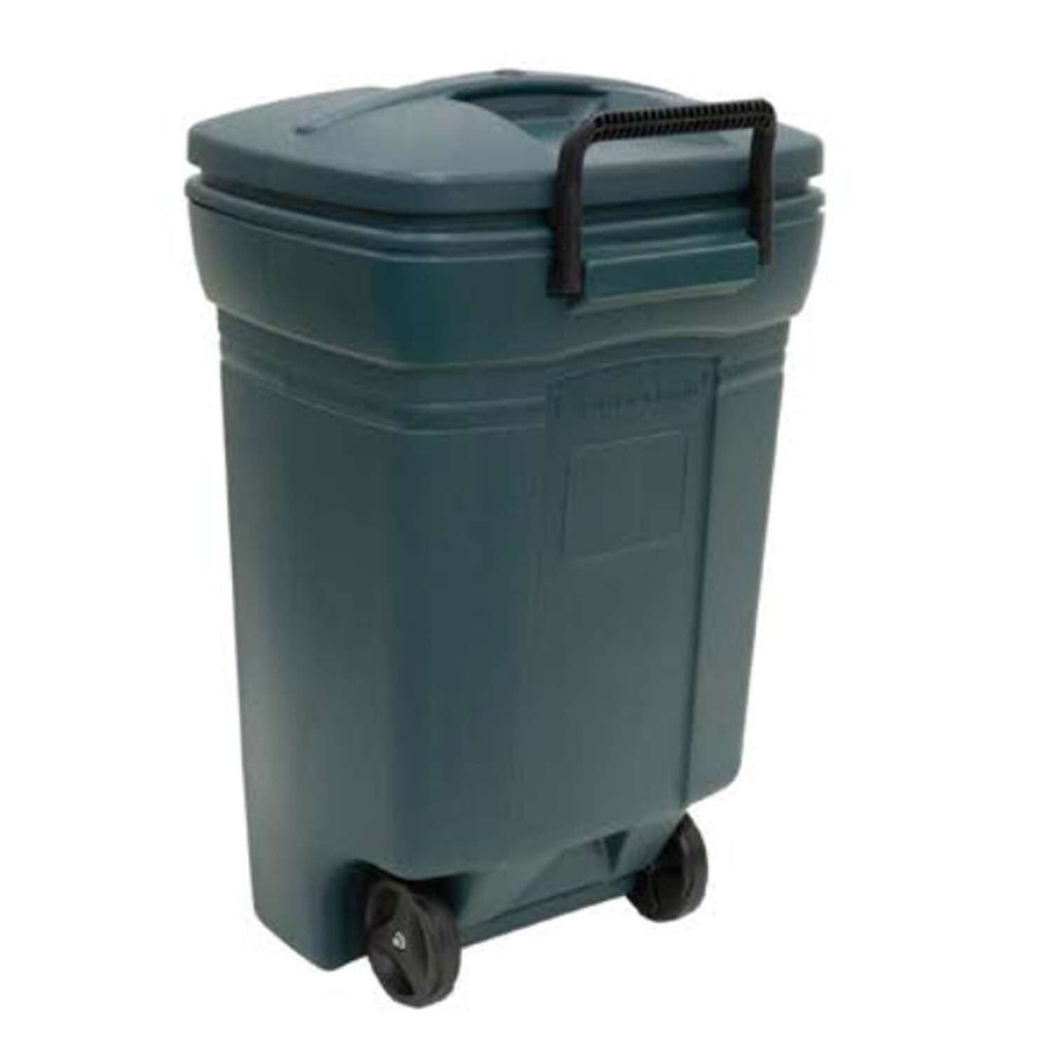 Rubbermaid  Roughneck  45 gal. Plastic  Wheeled Garbage Can  Lid Included
