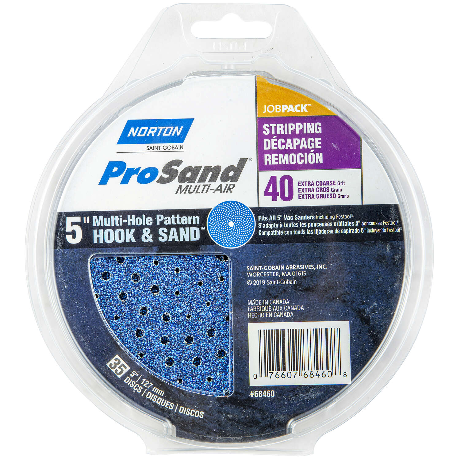 Norton  ProSand  5 in. Zirconia Alumina  Hook and Loop  H831  Sanding Disc  40 Grit Extra Coarse  35