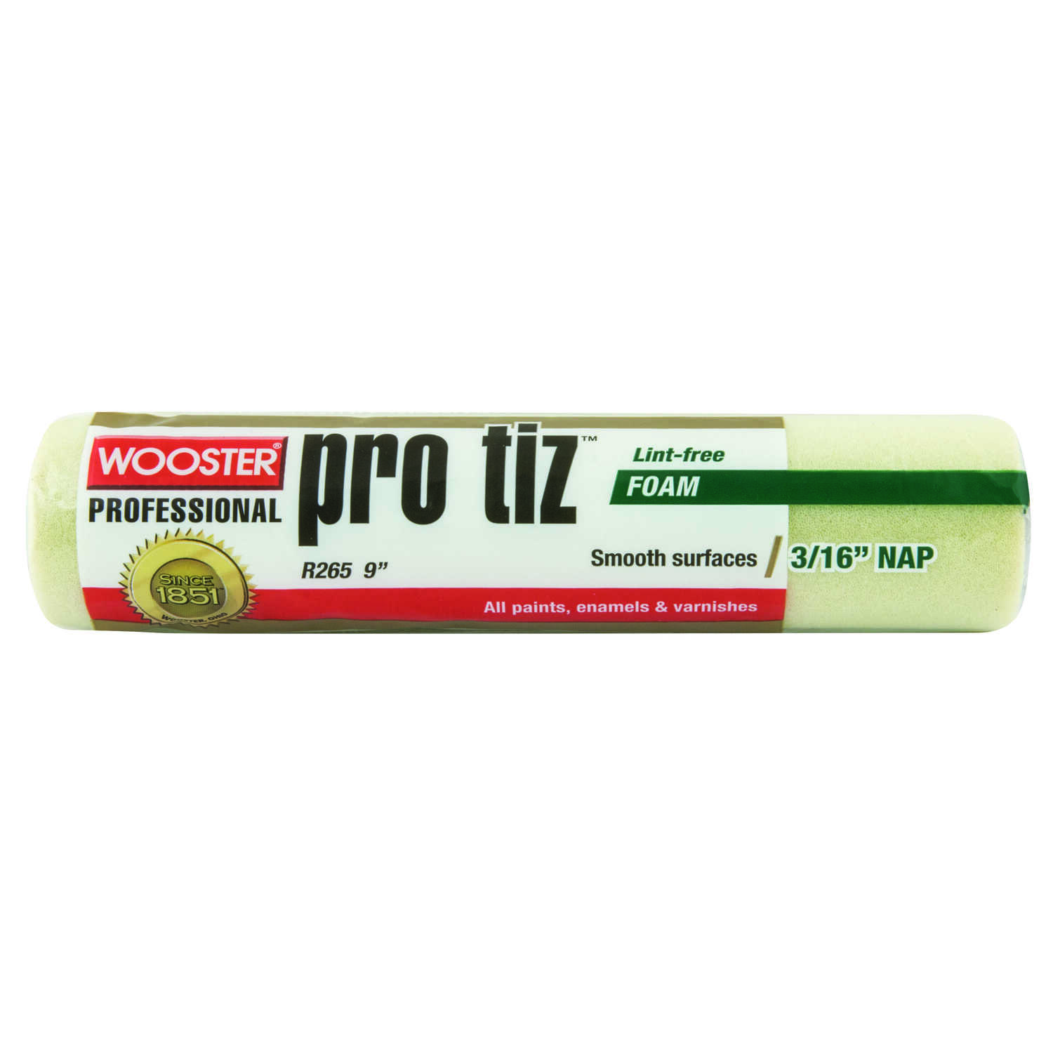 Wooster  Pro Tiz  Foam  3/16 in.  x 9 in. W Regular  Paint Roller Cover  For Smooth Surfaces 1 pk