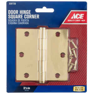 Ace  3-1/2 in. L Bright Brass  Brass  Door Hinge  1 pk