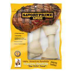 Savory Prime  Medium  Adult  Knotted Bone  Natural  7 in. L 2 pk