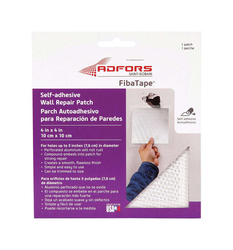 Adfors FibaTape 4 in. L x 4 in. W Fiberglass Mesh White Self Adhesive Wall Repair Patch