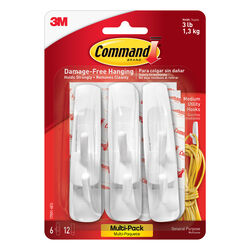 3M Command Medium Plastic Hook 3-7/8 in. L 6 pk