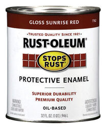 Rust-Oleum Stops Rust Indoor and Outdoor Gloss Sunrise Red Oil-Based Protective Paint 1 qt.