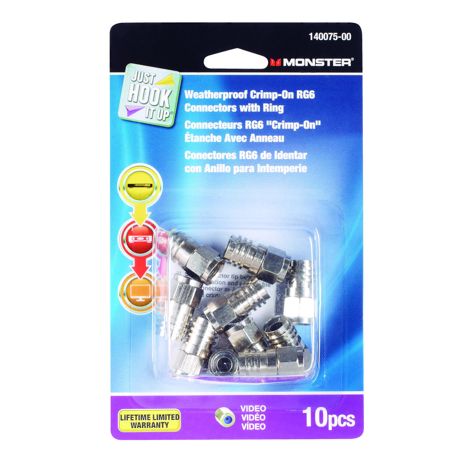 Monster Cable  Just Hook It Up  Crimp on RG6 Connectors  10 pk