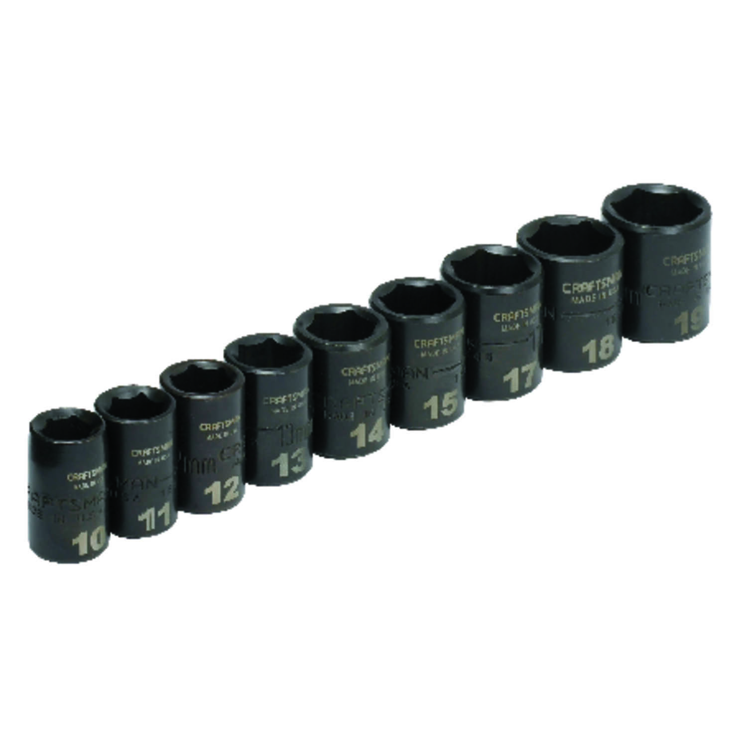 Craftsman  Easy-to-Read  19 mm  x 3/8 in. drive  Metric  6 Point Impact Socket Set  9 pc.