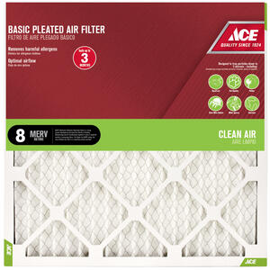 Ace  12 in. H x 12 in. W x 1 in. D Pleated  8 MERV Air Filter
