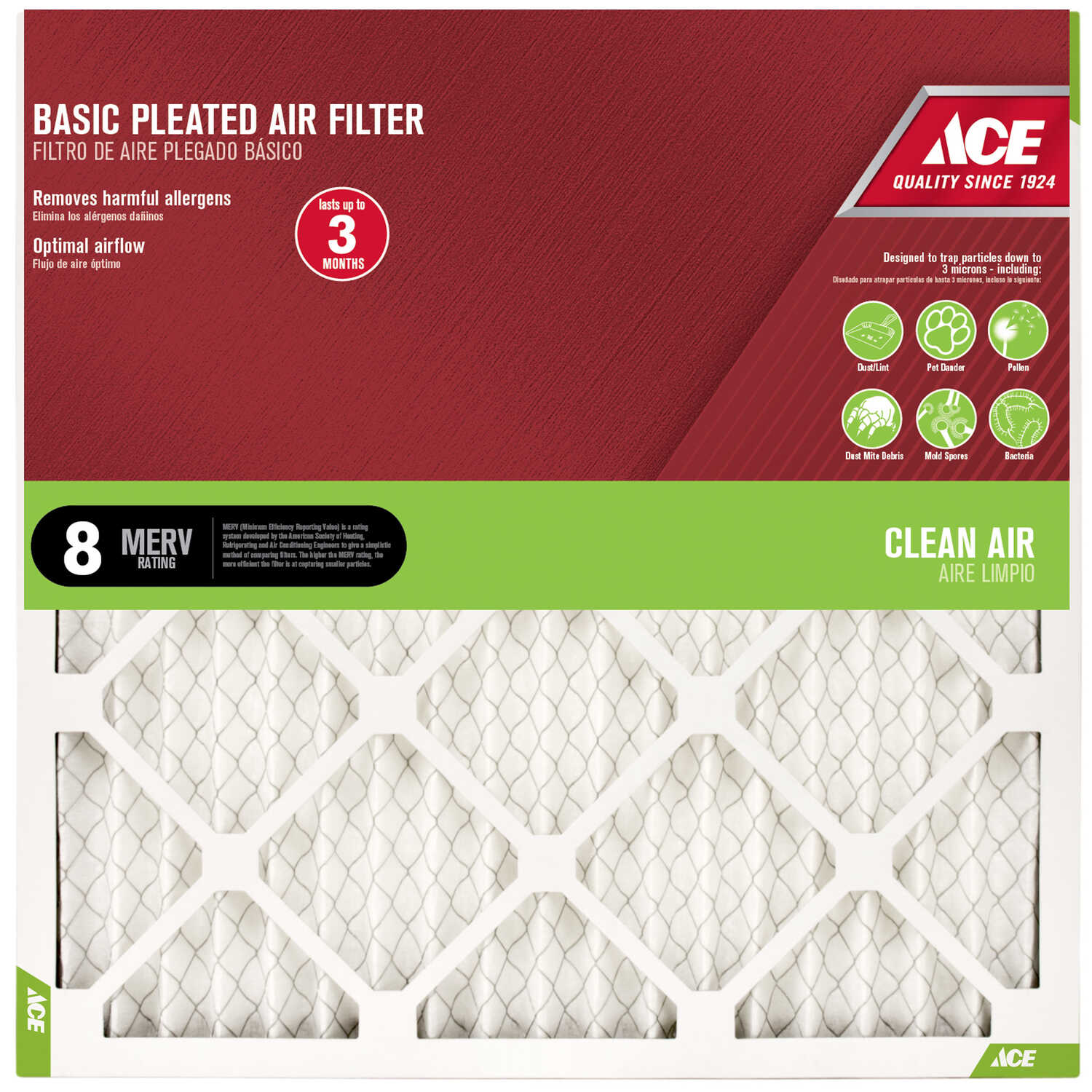Ace  12 in. H x 12 in. W x 1 in. D Pleated  Air Filter