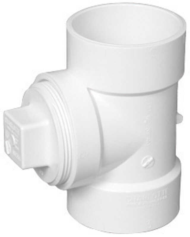 Charlotte Pipe  3 in. Hub   x 3 in. Dia. Hub  PVC  Cleanout Tee