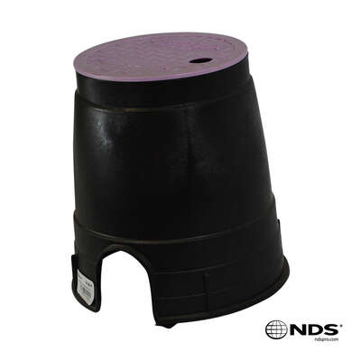 NDS  Econo  8.5 in. W x 8.5  H Round  Valve Box with Overlapping Cover  Purple