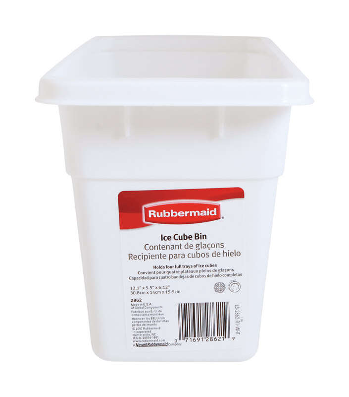 Rubbermaid  5-1/2 in. W x 12-1/8 in. L White  Plastic  Ice Cube Bin