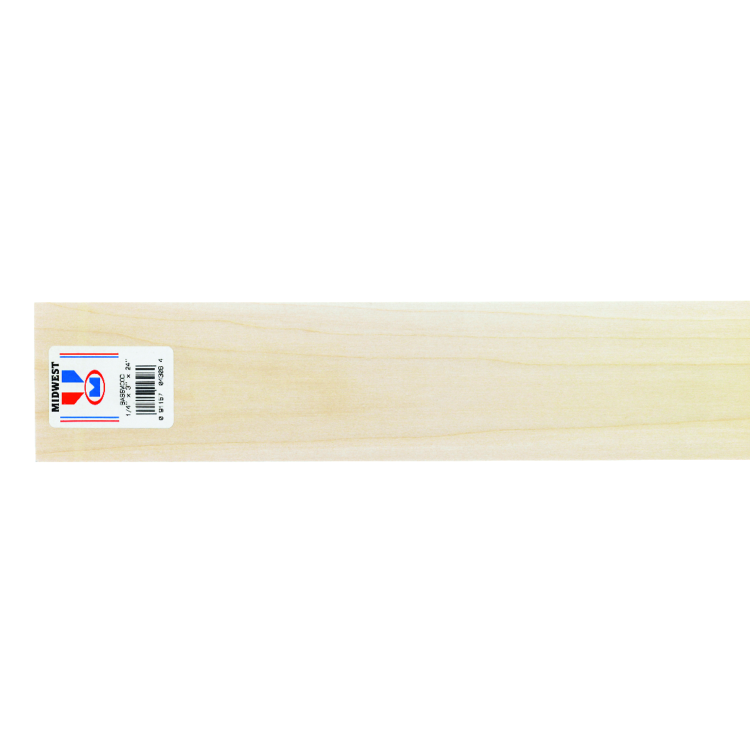 Midwest Products  3 in. W x 2 ft. L x 1/4 in.  Basswood  Sheet