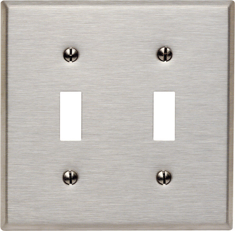 Leviton  Silver  2 gang Stainless Steel  Toggle  Wall Plate  1 pk