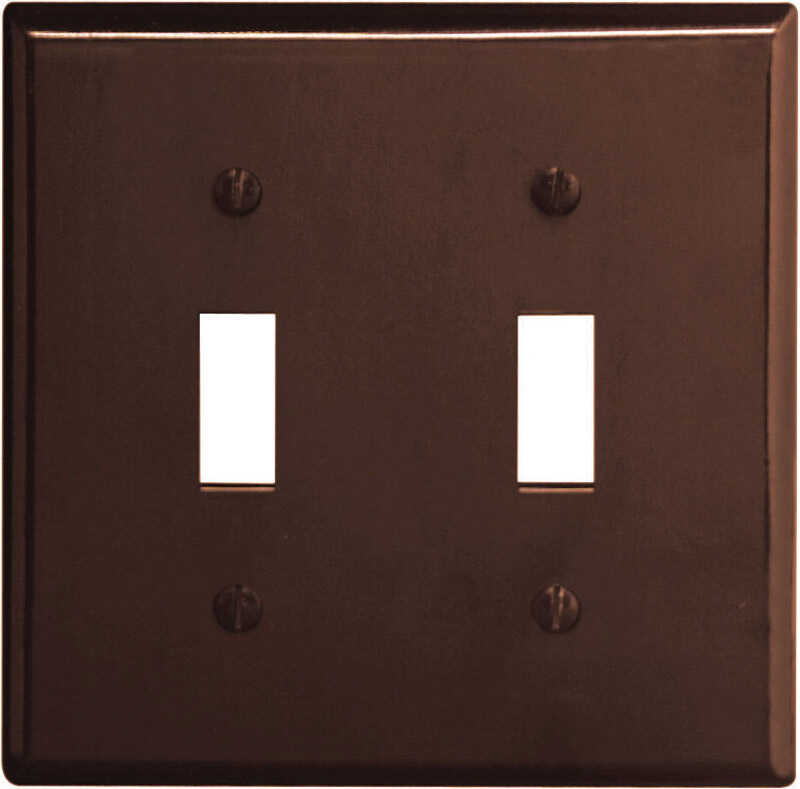 Leviton  Brown  2 gang Plastic  Toggle  Wall Plate  1 pk