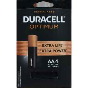 Duracell  Optimum  AA  Alkaline  Batteries  4 pk Carded