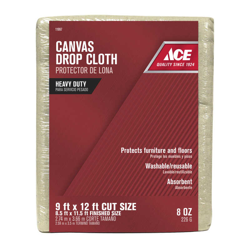 ACE  Heavy Weight Grade Canvas  Drop Cloth  9 ft. W x 12 ft. L White