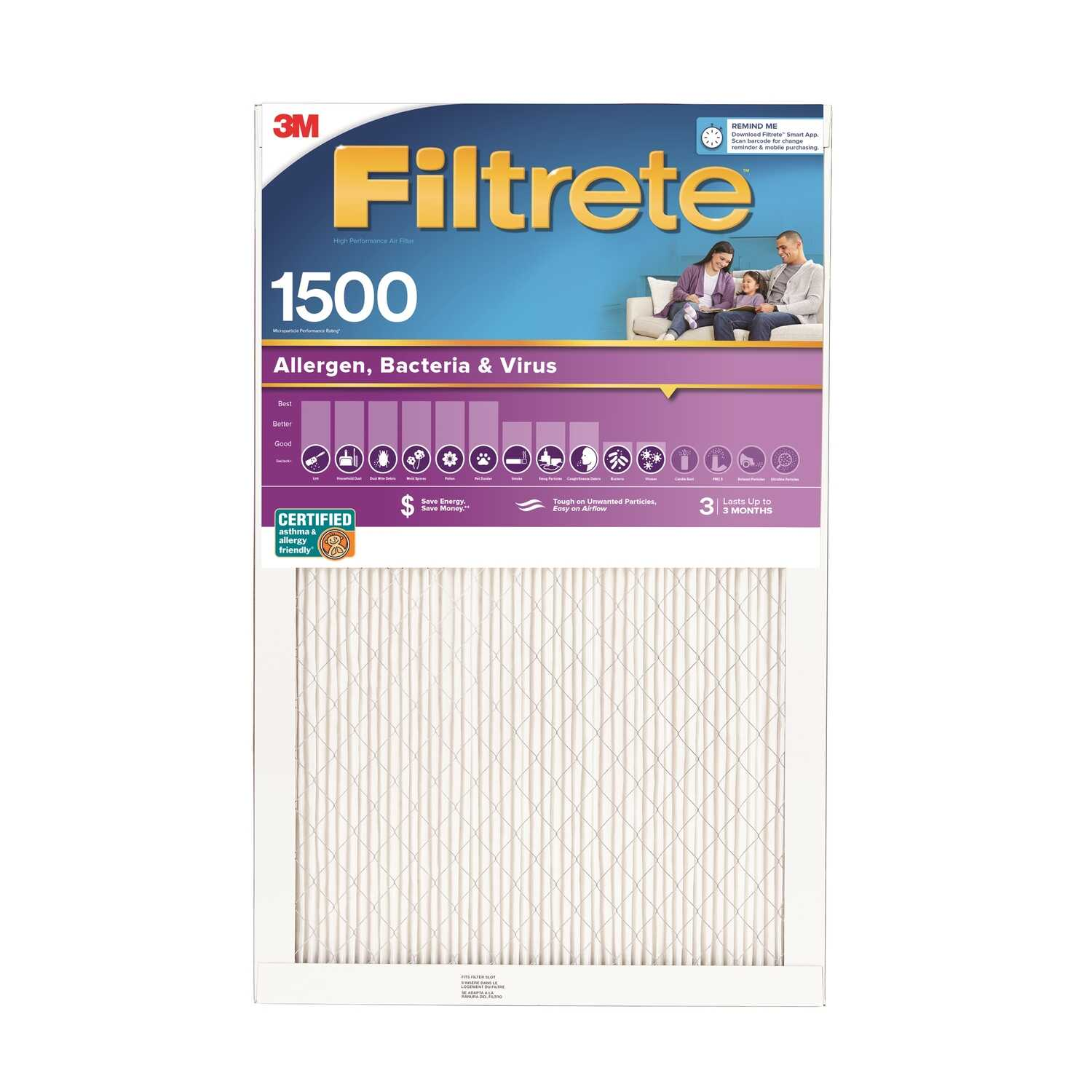3M  Filtrete  20 in. W x 24 in. H x 1 in. D Pleated Air Filter