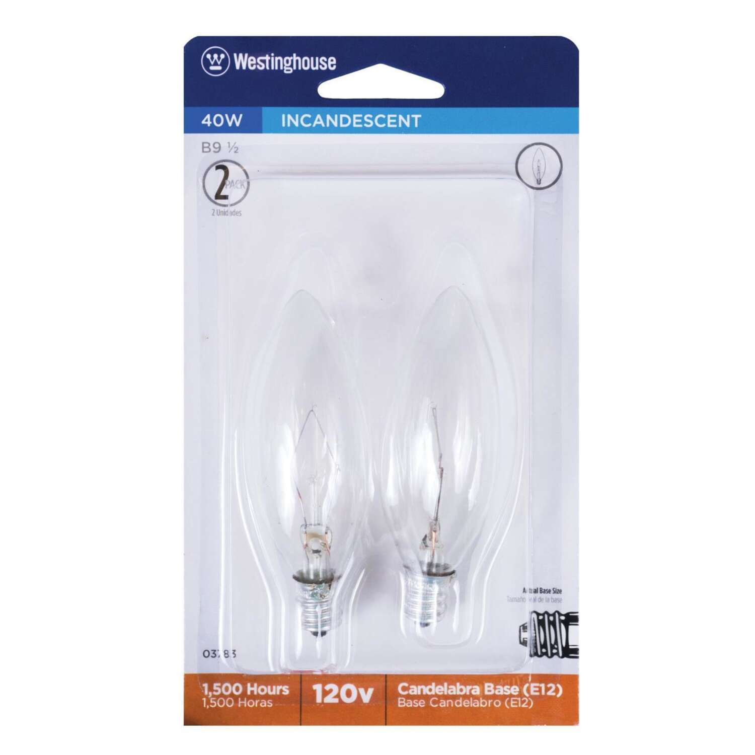 Westinghouse  40 watts BA9.5  Incandescent Bulb  365 lumens Warm White  Decorative  2 pk