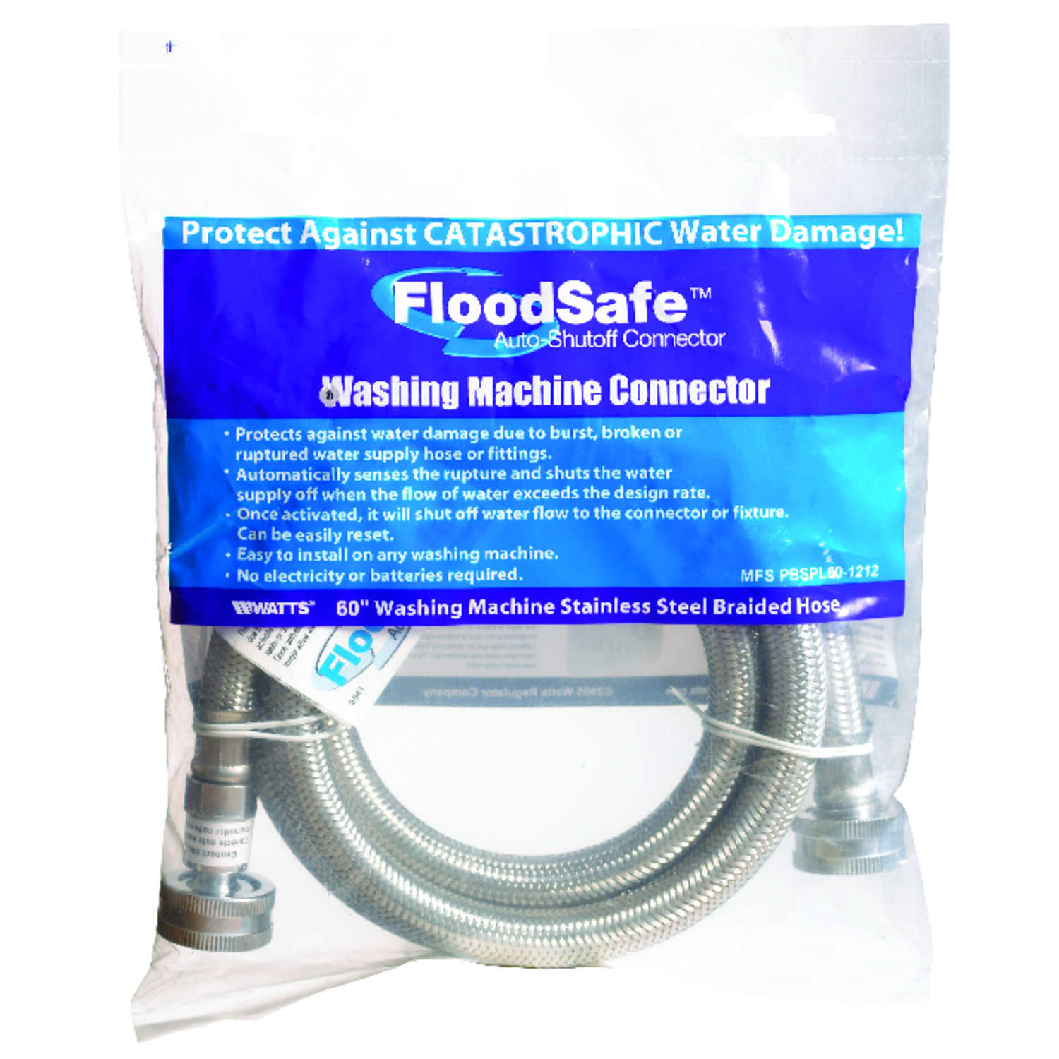 Floodsafe 3/4 in. Hose x 3/4 in. Dia. Hose Stainless Steel 60 in ...
