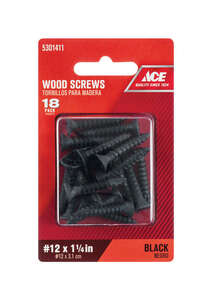 Ace  No. 12   x 1-1/4 in. L Phillips  Flat  Black  Wood Screws  Steel  18 pk