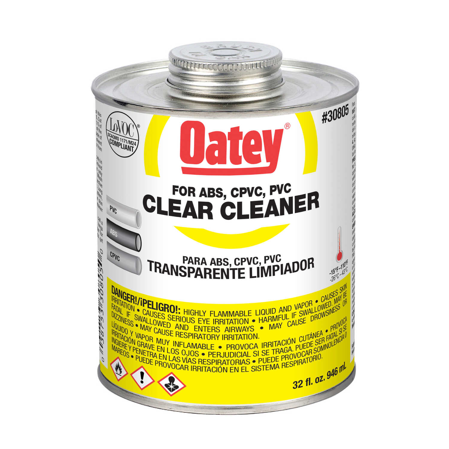 Oatey  Clear  Cement and Cleaner  For ABS/CPVC/PVC 32 oz.