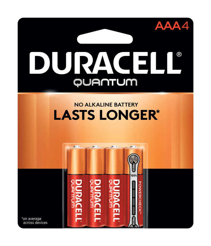 Duracell  Quantum  AAA  Alkaline  Batteries  1.5 volts 4 pk Carded