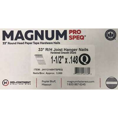 Magnum  1-1/2 in. Angled Strip  Nails  33-1/2 deg. Smooth Shank  3000 pk