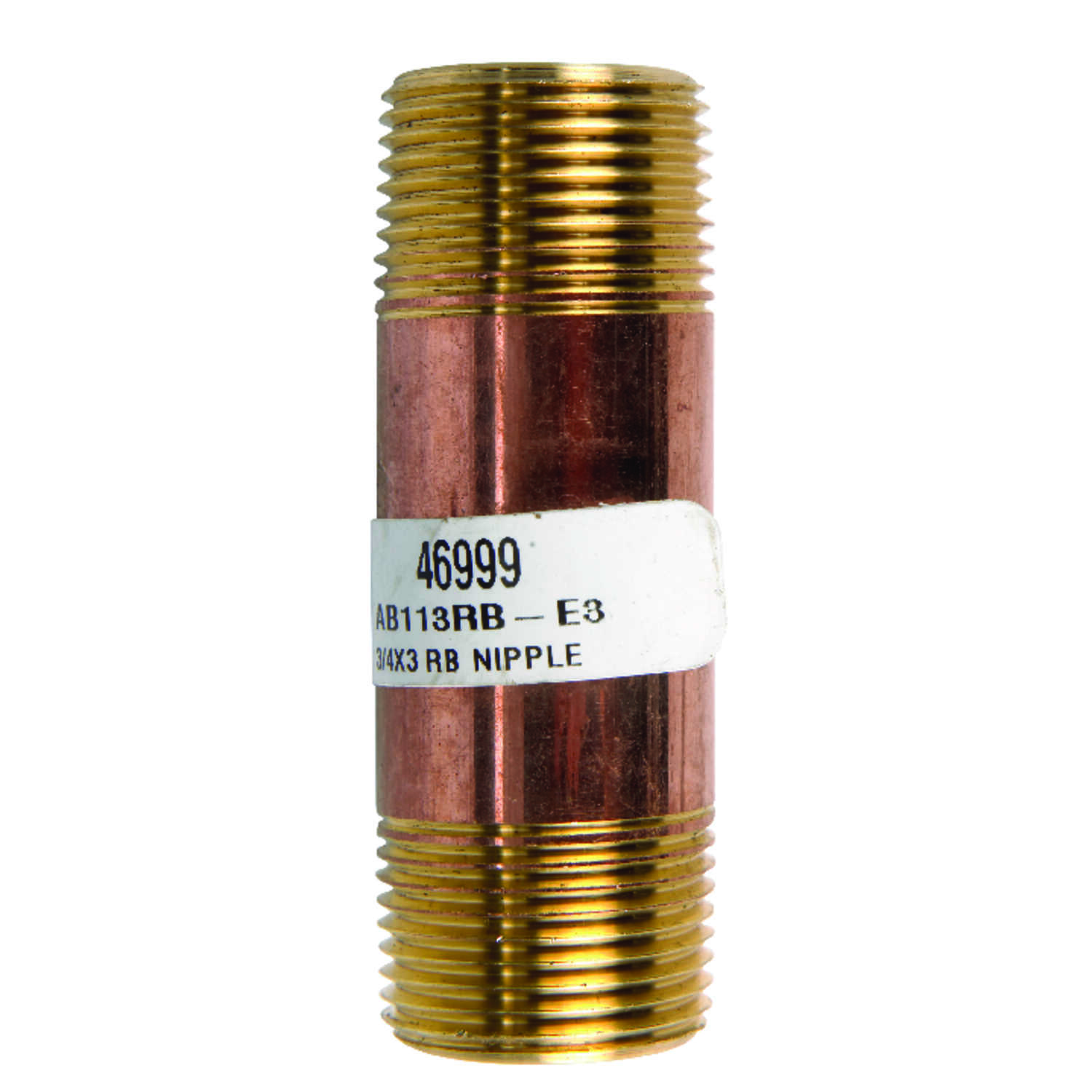 JMF 3 in. 3/4  MPT To MPT  3/4 in. Dia. Brass  Pipe Nipple