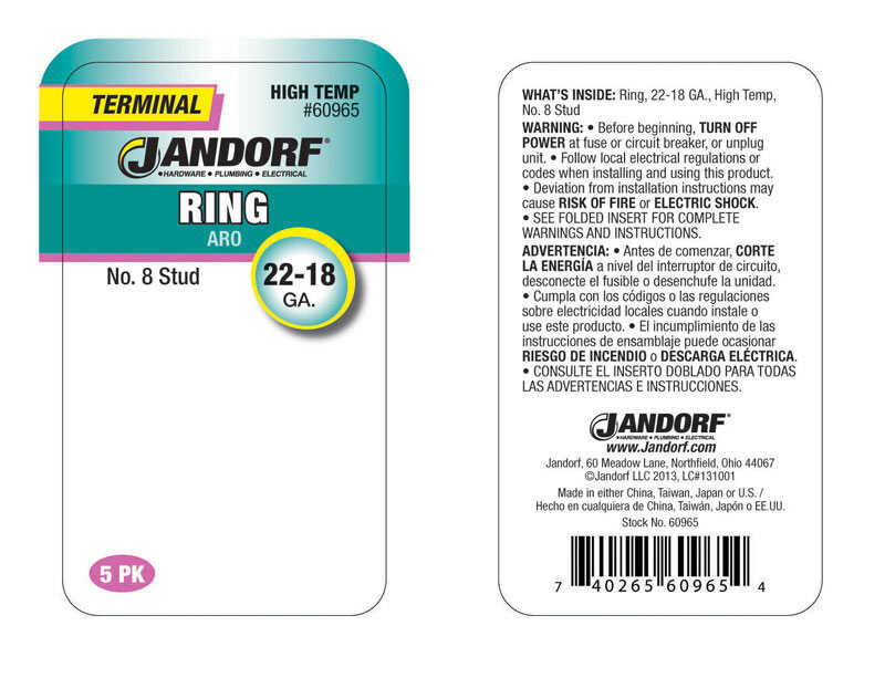 Jandorf  22-18 Ga. Insulated Wire  Terminal Ring  5 pk