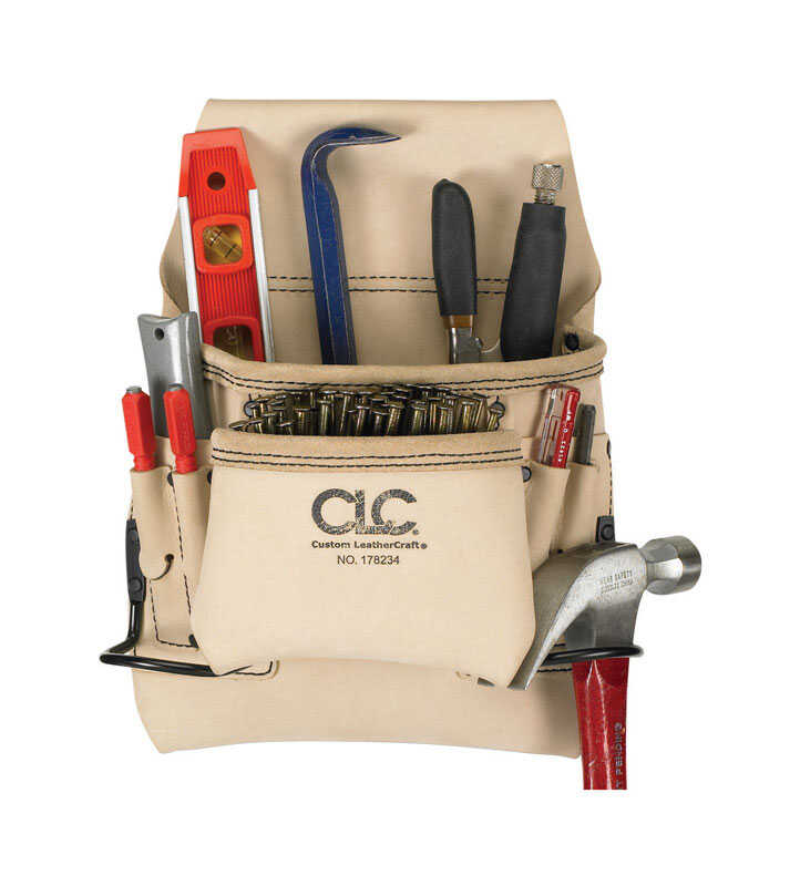 CLC  4.25 in. W x 13.5 in. H Leather  Tool Bag  6 pocket Tan  1 pc.