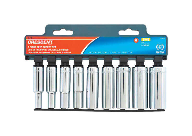 Crescent  3/8 in.  SAE  6  Deep Well Socket Set  9 pc.