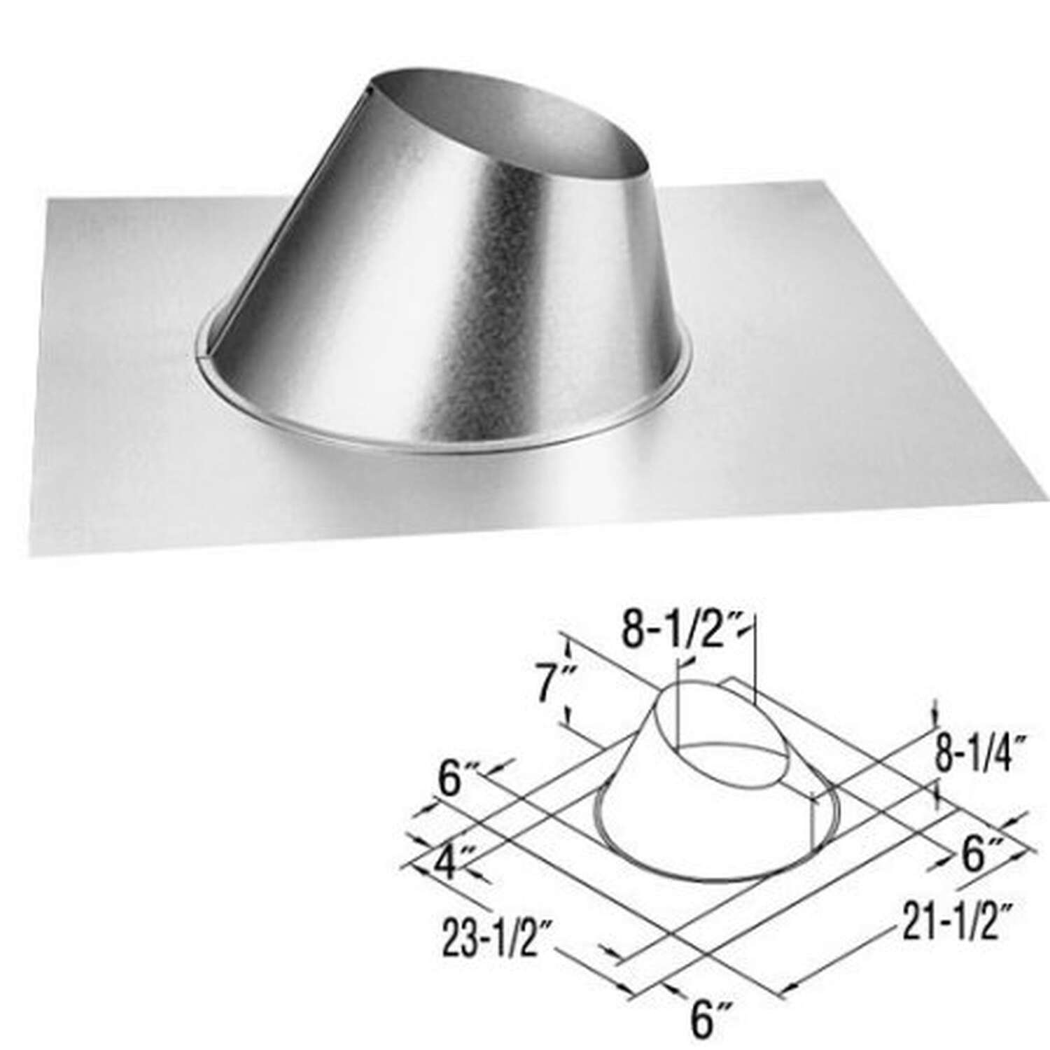 Duravent  4 in. Dia. Galvanized Steel  Adjustable Fireplace Roof Flashing