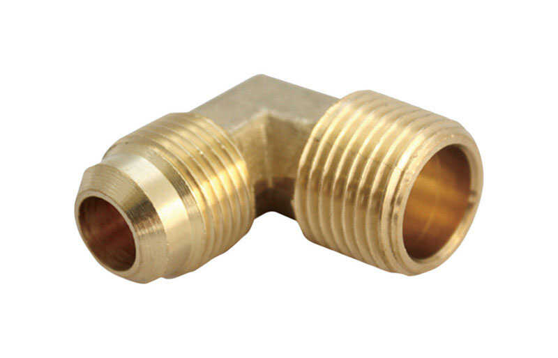 Ace  1/2 in. Dia. x 1/2 in. Dia. Flare To MPT To Compression  Yellow Brass  Elbow