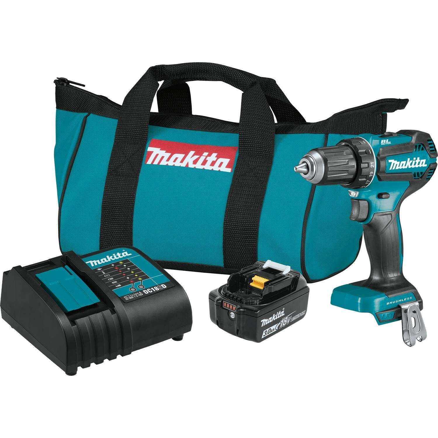 Makita  18 volt 1/2 in. Brushless  Cordless Drill Driver  Kit (Battery & Charger)