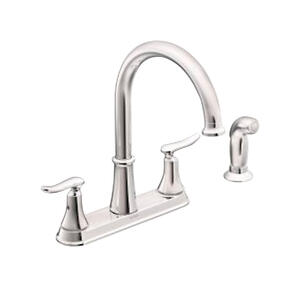Moen  Solidad  Two Handle  Chrome  Kitchen Faucet  Side Sprayer Included