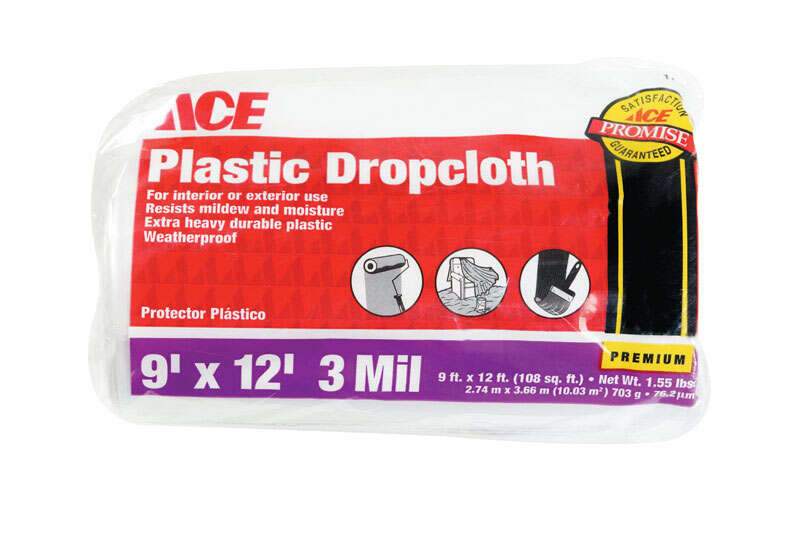 ACE  Heavy Weight  Plastic  Drop Cloth  9 ft. W x 12 ft. L