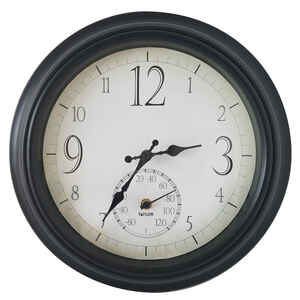 Springfield  Decorative  Clock/Thermometer  Plastic  Black