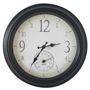 Springfield  Decorative  Clock/Thermometer  Steel/Glass  Black