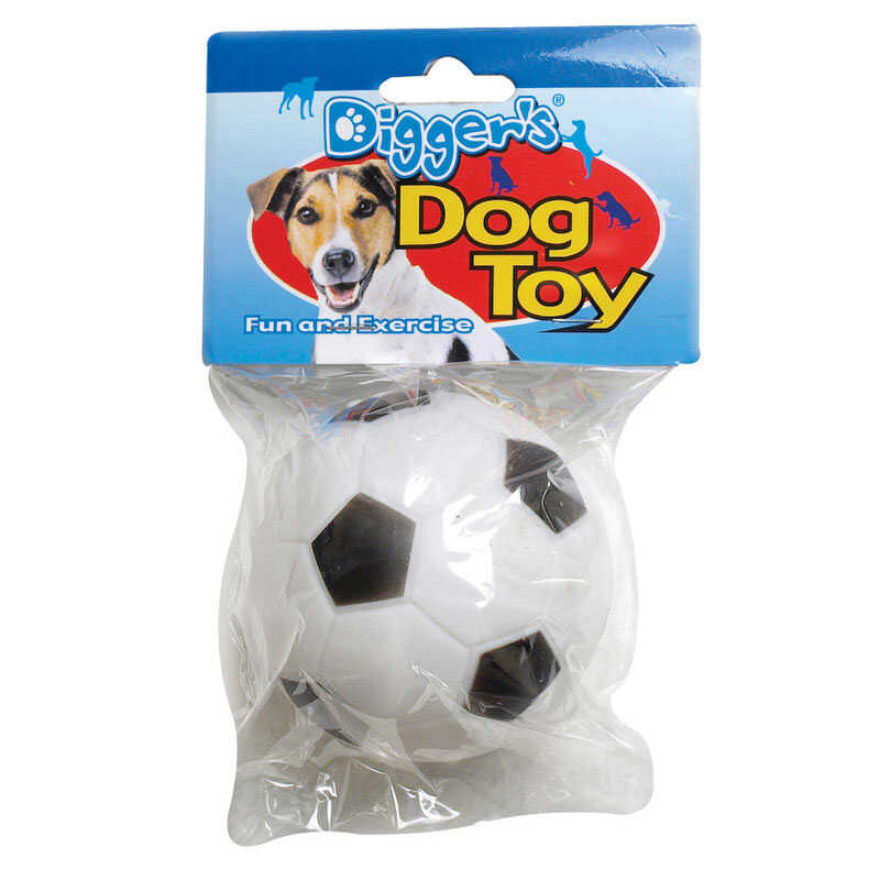 Diggers  Black/White  Soccer Ball  Vinyl  Dog Toy  Medium