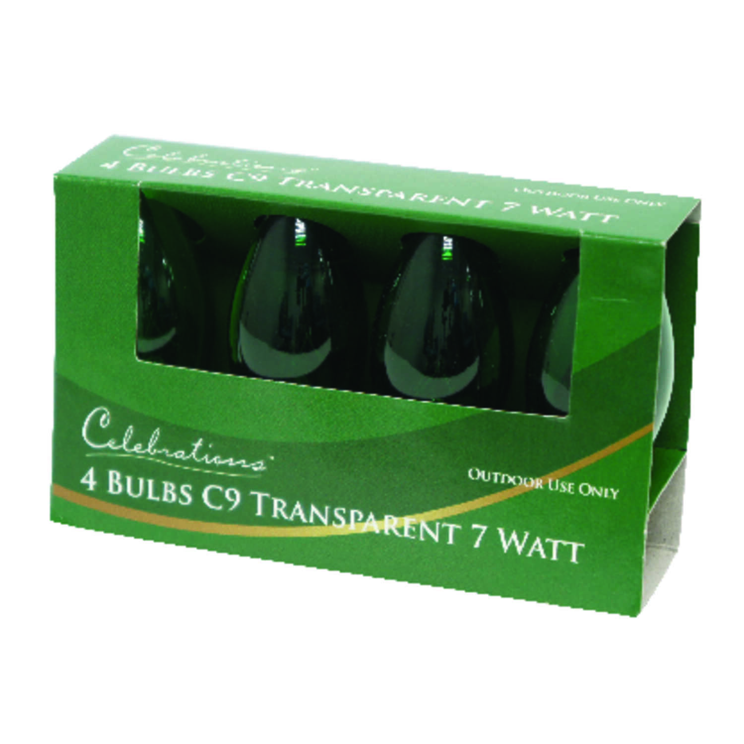 Celebrations  Incandescent  Transparent C9  Replacement Bulb  Green  4 pk