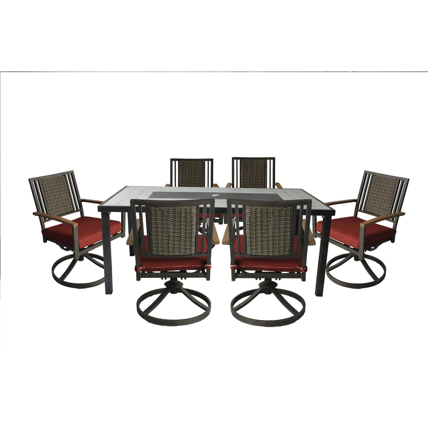 Living Accents  Sidney  7 pc. Aluminum  Patio Set  Red