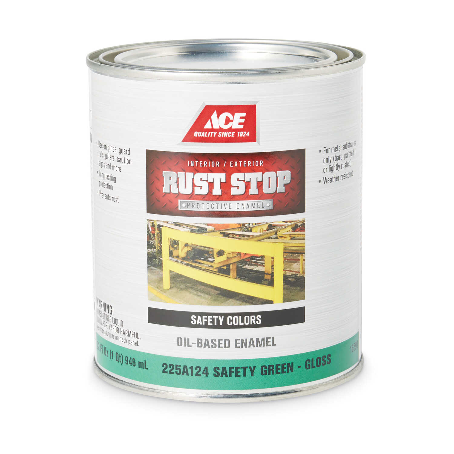Ace  Rust Stop  Indoor and Outdoor  Gloss  Safety Green  Rust Prevention Paint  1 qt.