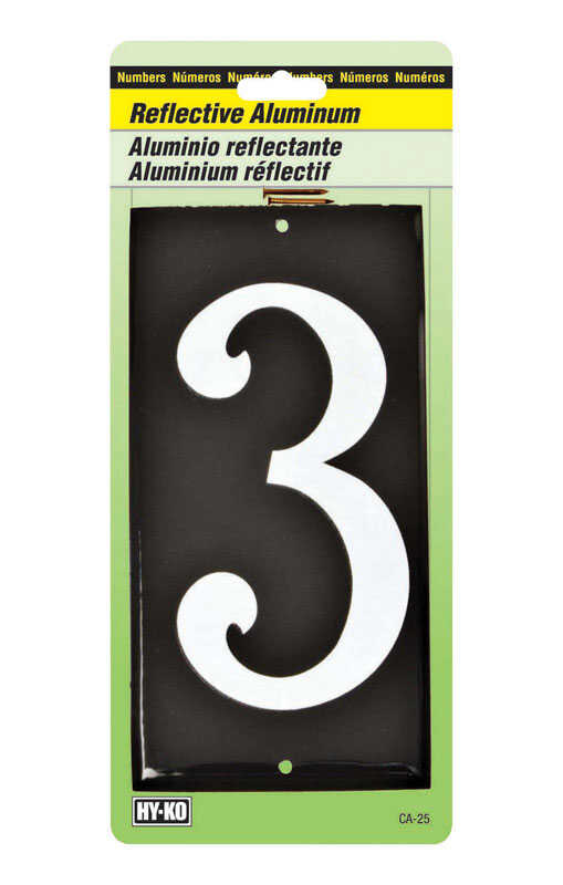 Hy-Ko  Reflective 3-1/2 in. White  3  Aluminum  Nail-On  Number