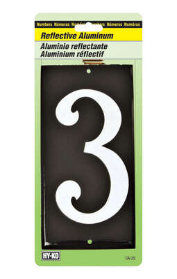 Hy-Ko  3-1/2 in. Reflective White  Aluminum  Nail-On  Number  3  1 pc.