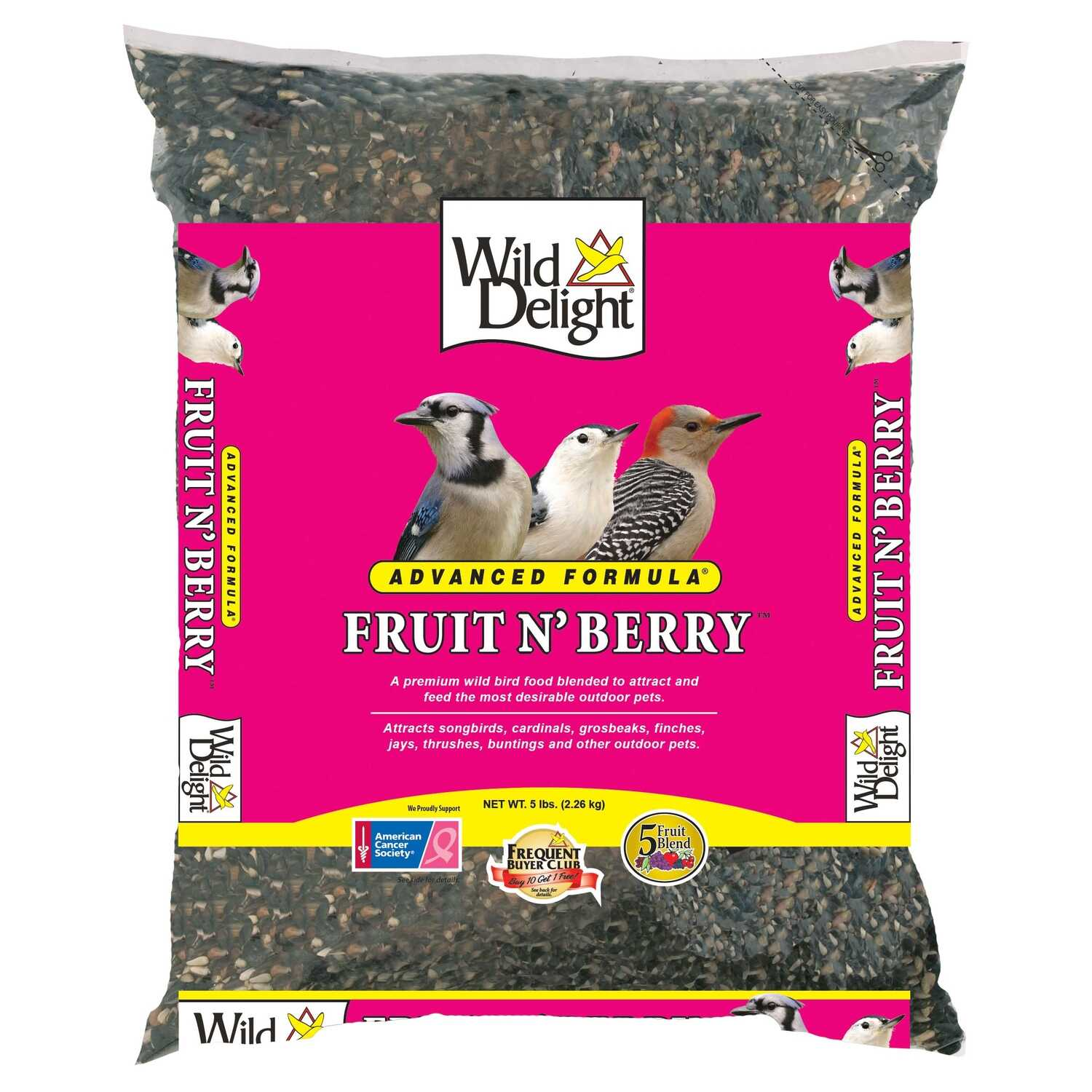 Wild Delight  Fruit N Berry  Assorted Species  Wild Bird Food  Sunflower Seeds  5 lb.
