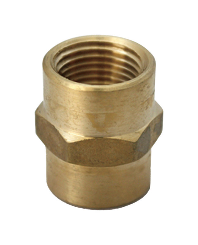 JMF  1/2 in. Dia. x 1/4 in. Dia. FPT To FPT  Yellow Brass  Reducing Coupling