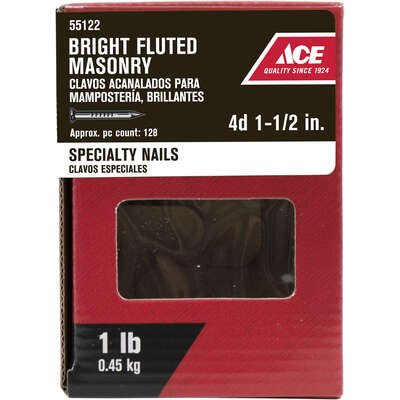 Ace  1-1/2 in. Masonry  Bright  Nail  1 lb.