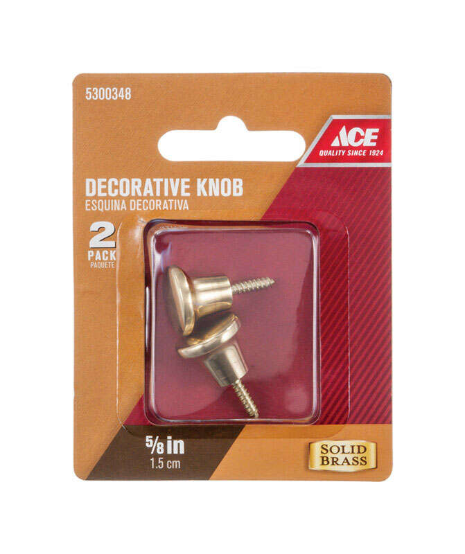 Ace  Decorative  Round  Furniture Knob  5/8 in. Dia. 1 in. Brass  2 pk